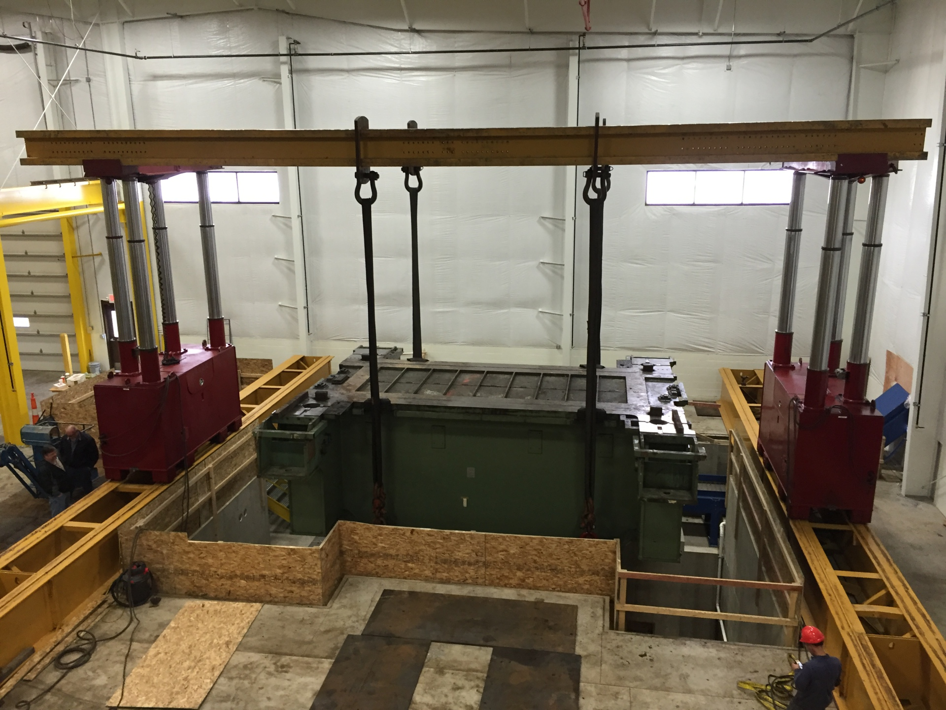 Installing and leveling base for 1,500-ton Press.